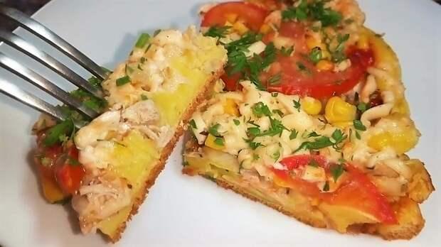 Пицца на сковороде за 15 минут. отличный рецепт дачного завтрака!
