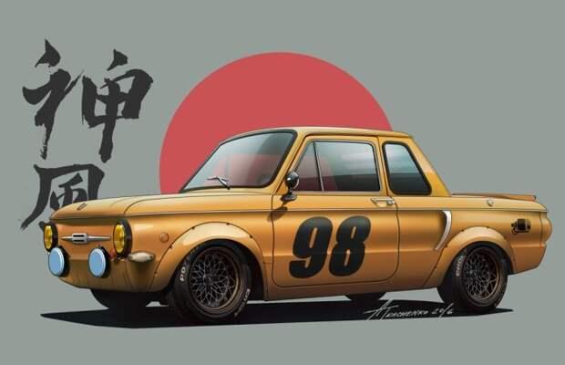 8. «Запорожец»-купе СССР, авто, арт-картина, прототип, художник