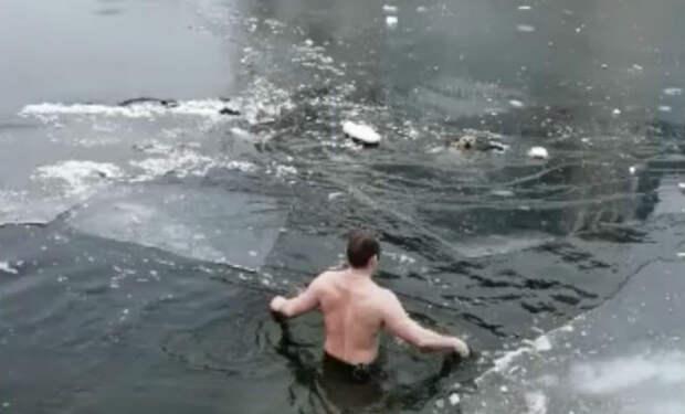 Лед под собакой провалился. Мужчина шагнул в ледяную воду и пришел на помощь