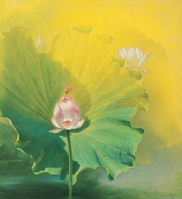Jiang Debin. Цветы акварелью. Лотос шестой