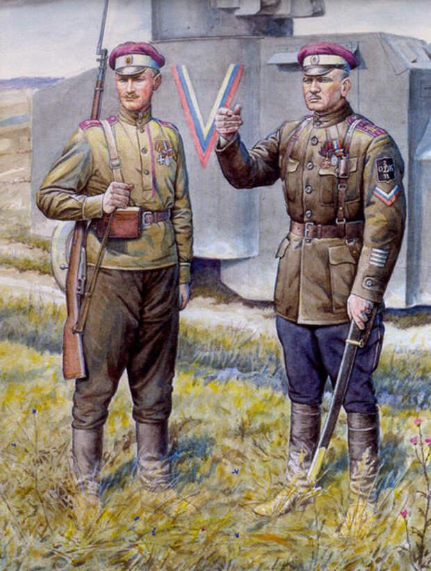Офицер и рядовой Дроздовской дивизии. Источник иллюстрации: http://imtw.ru