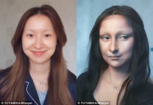 «Лицо — это чистый лист бумаги»: косметика превратила китаянку в Мону Лизу