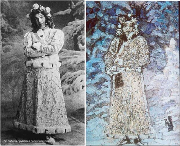 Слева – Н. И. Забела-Врубель в роли Снегурочки. Справа –  М. Врубель. Снегурочка, 1890 | Фото: wroubel.ru и muzei-mira.com