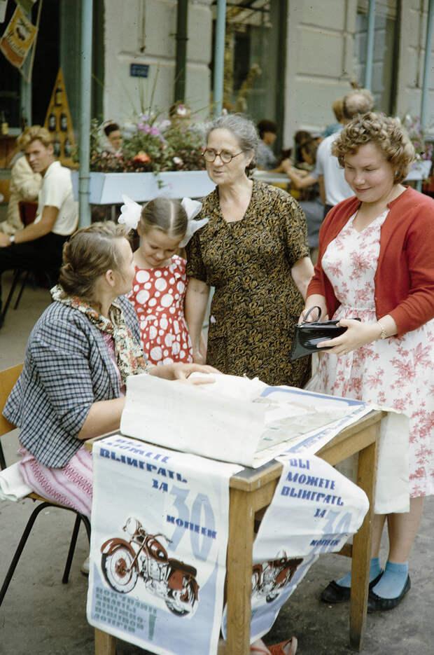 Russia, women purchasing lottery tickets in Khabarovsk