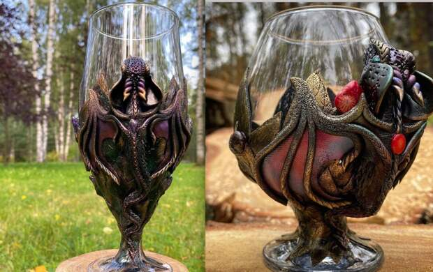 Необычные фэнтези-бокалы создает мастер из Петербурга. Где делают драконье стекло
