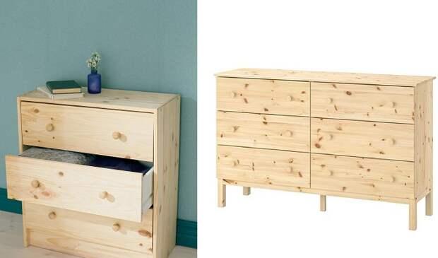Комоды из массива натурального дерева IKEA идеально подходят для творческих экспериментов.