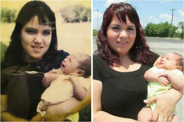 Чудеса генетики: 25 фото, показывающих удивительное сходство между родственниками дети, неожиданно, подборка, родители, семья, сравнение, тогда и сейчас, фото