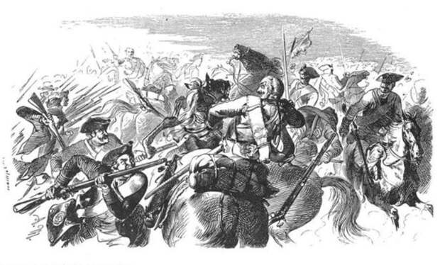 Прусская пехота атакует австрийскую кавалерию в сражении при Лигнице.