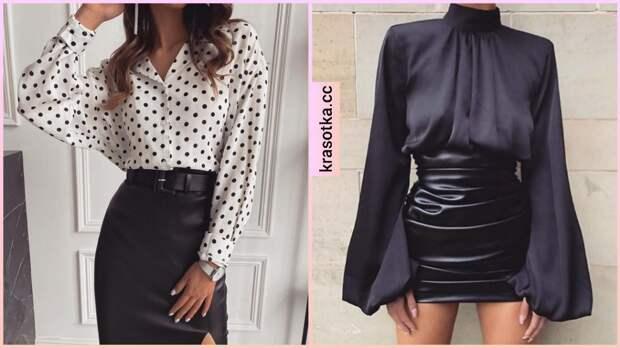 Как стильно носить кожаную юбку с блузкой: 11 идей для женщин разного возраста