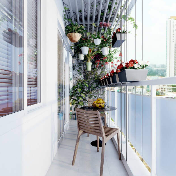 Узкий балкон с оригинальной растительностью. | Фото: HOME DECOR.