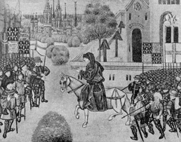 Джон Болл среди восставших крестьян. Миниатюра из 'Хроники Франции, Англии, Шотландии и Испании' Фруассара. Рукопись второй половины XV в.