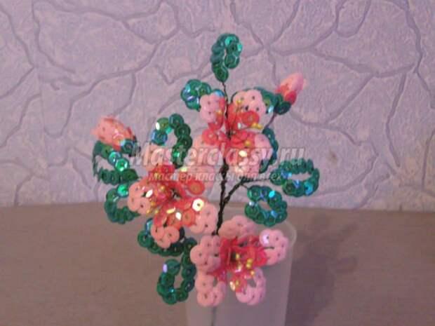 букет цветов из пайеток. Цветущая яблоня