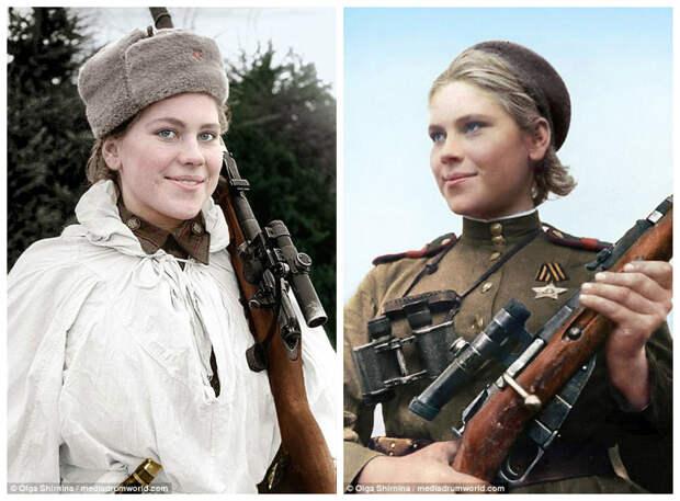 """Роза Егоровна Шанина - """"Невидимый ужас Восточной Пруссии"""". Уничтожила 59 нацистов женщины СССР, колоризация, колоризированные снимки, раскрашенные, снайперы"""