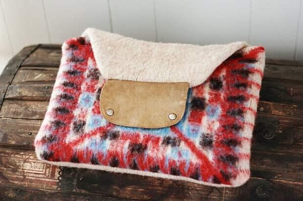 Чехол для ноутбука своими руками - зимний и уютный, с кожей