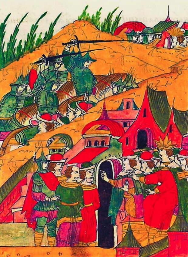 Взятие и допрос татарских языков. Миниатюра из Лицевого свода, том 22 - «Война двух царей»: разведка | Warspot.ru