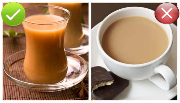 Качественный чай при добавлении молока становится оранжевым.