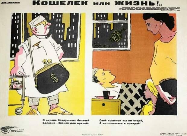 Подборка советских иллюстраций о капиталистической системе здравоохранения