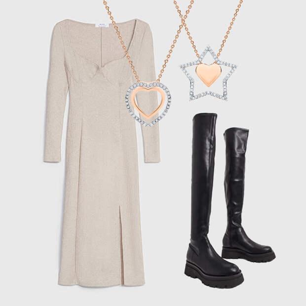 Теплые трикотажные платья и высокие сапоги – наша «униформа» для холодов