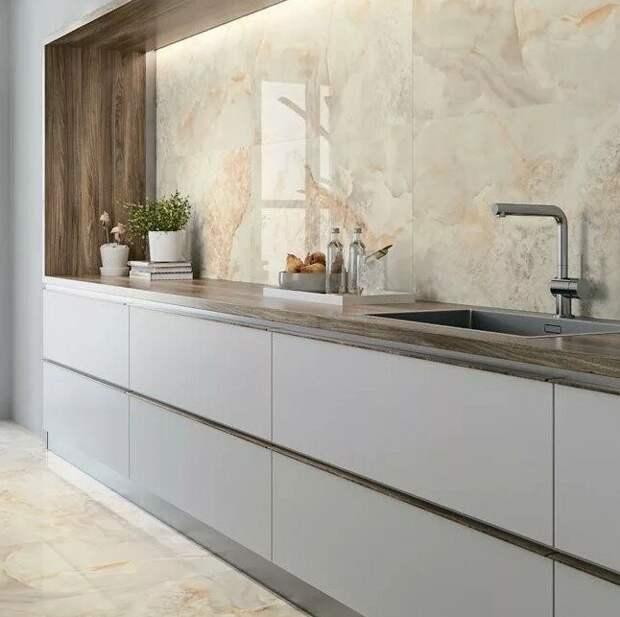 Мраморный фартук на кухню 2021 — лучшие фото-идеи