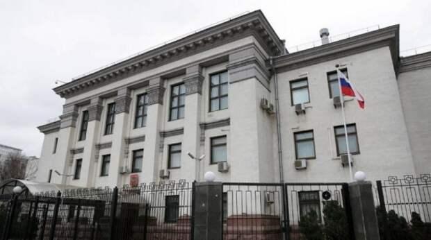 Украинские пикетчики закатили скандал у посольства РФ в Киеве в день выборов – видео