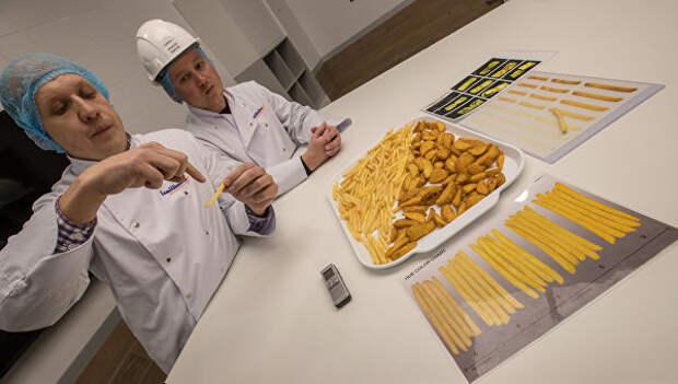 Сотрудники в лаборатории контроля качества на заводе по переработке и производству замороженного картофеля ГК Белая дача в Липецкой области