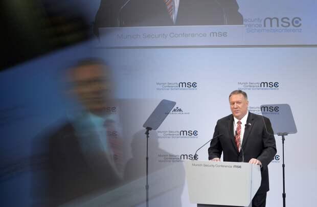 Госсекретарь США Майк Помпео выступает на Мюнхенской конференции по безопасности, 15 февраля 2020