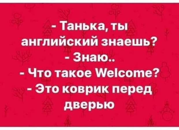 Возможно, это изображение (один или несколько человек и текст «-танька, ты английский знаешь? -знаю.. -что такое Welcome? -это коврик перед дверью»)