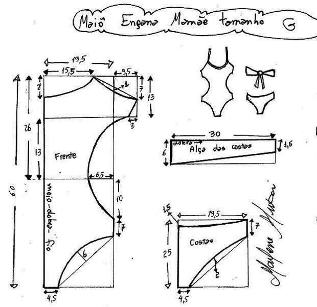 Выкройки слитного купальника с вырезами  размер