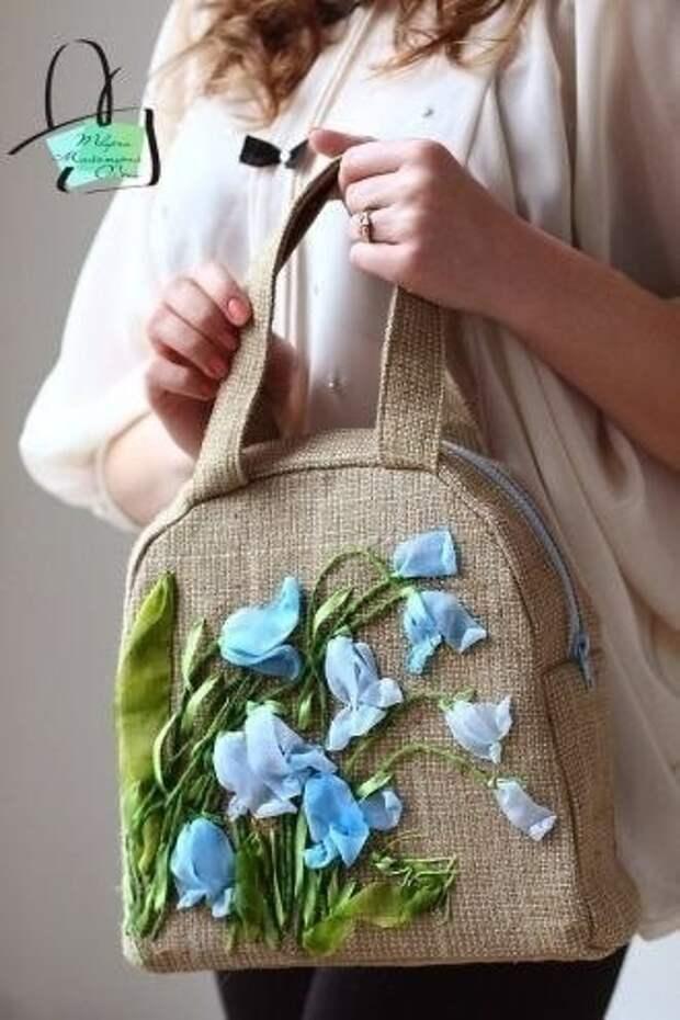 Вышивка лентами по мешковине. Крутые сумки!