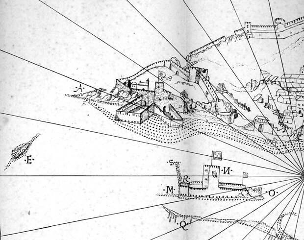 Фрагмент рисунка с крепостью и «морской башней» - Диу: недружественный визит | Warspot.ru