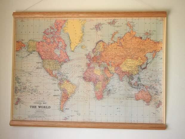 Как повесить карту мира на стену