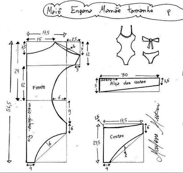 Выкройки купальника с вырезами (все размеры)