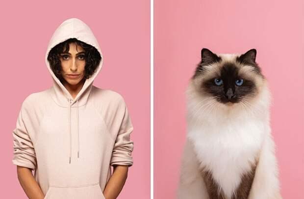 17 портретов кошек илюдей, невероятно похожих друг надруга