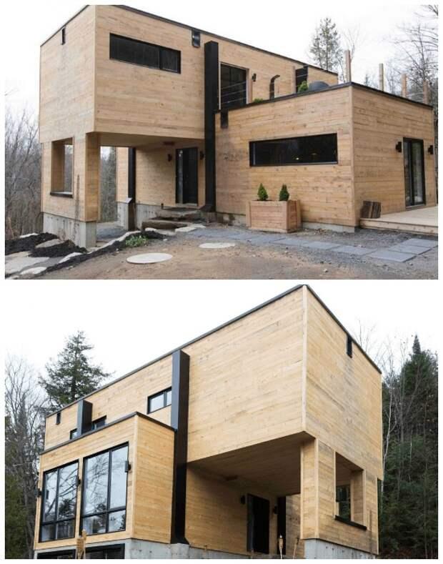 Фасад дома из контейнеров обшили еловыми досками. | Фото: slavikap.livejournal.com.