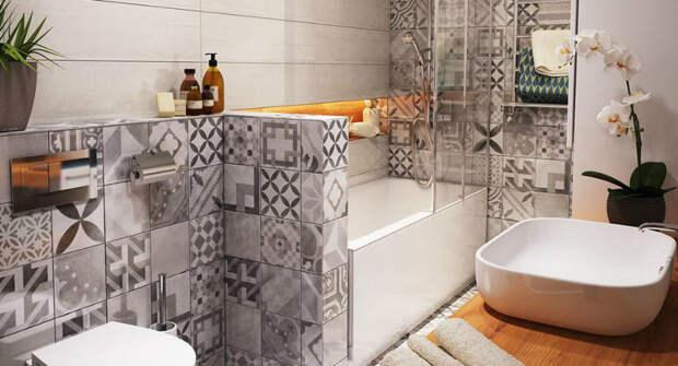 Дизайн ванной комнаты: фото отделки плиткой лучших интерьеров