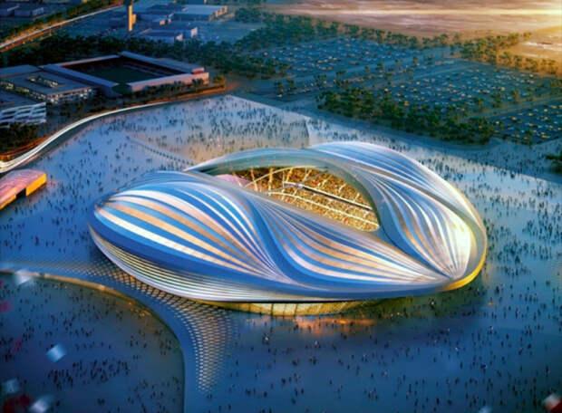 ФИФА приняла в Катаре новый стадион. Он стоит почти как «Газпром-Арена», только вместимостью немногим больше ее половины. Фантастические фото
