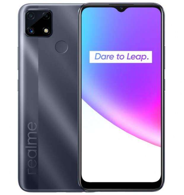 Представлен недорогой смартфон Realme C25 с тройной камерой и батареей на 6000 мАч
