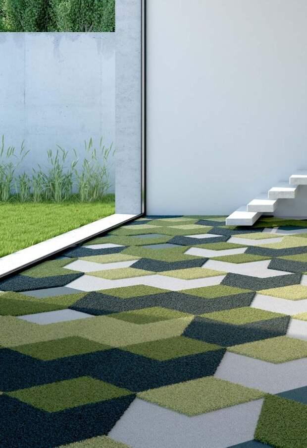 Отличная идея - преобразить скучный пол с помощью остатков ковролина, в яркую мозаику. Идеи декора