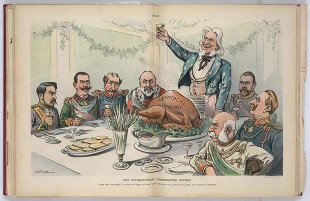 Наш благодарственный обед. На столе индейка с надписью Коммерческое превосходство