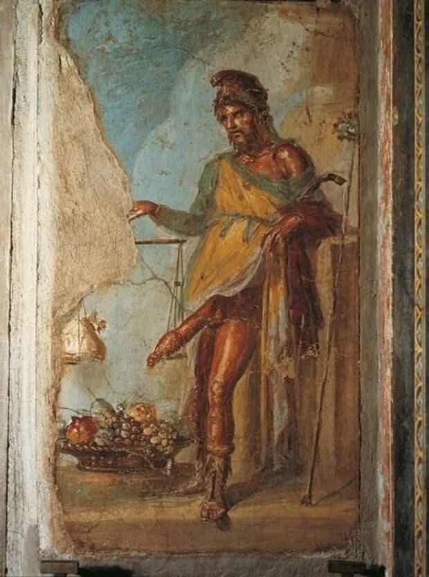 Существует еще одна очень похожая на нее фреска в знаменитом Доме Веттиев. Ниже именно ее фото археология, история, расследование, тайны