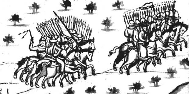 Бегство Кучума из Искера. Иллюстрация из Кунгурской летописи./Фото: zaimka.ru