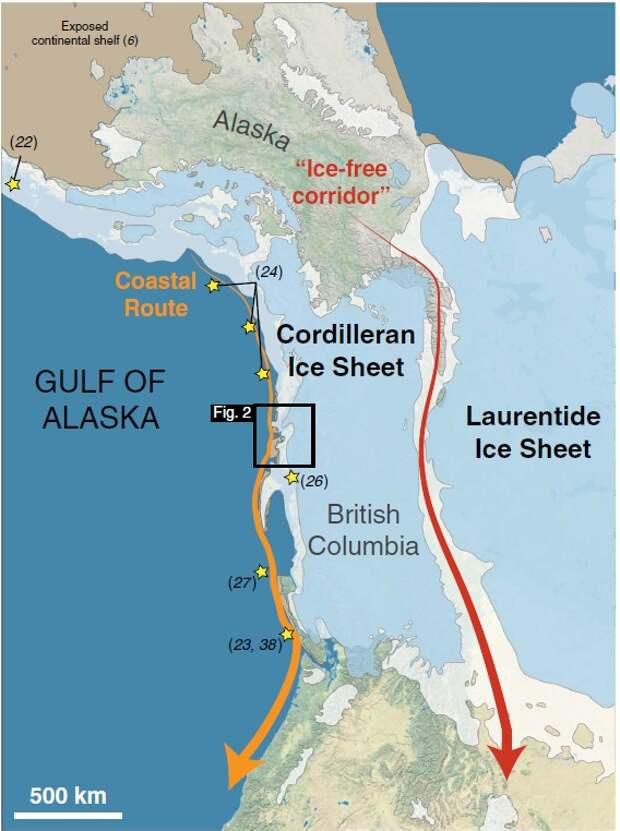 Заселение Северной Америки – путь на юг по побережью был свободен ото льда