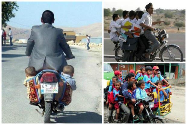 Люди-то, люди, доедут на вашем транспорте? А как же! Беспечность, правда, поразительная, но нужда заставляет забывать о безопасности... велосипед, груз, интересное, мопед, мотоцикл, перевозка, смешно, юмор