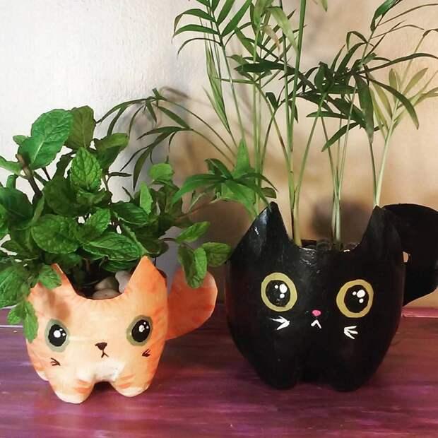 горшки в форме котов