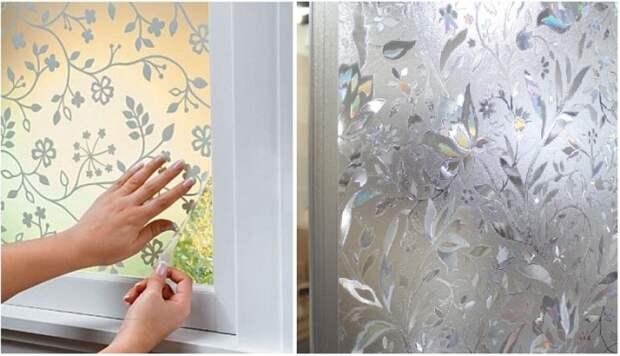 С помощью витражной пленки можно преобразить любую стеклянную поверхность. | Фото: livemaster.ru.