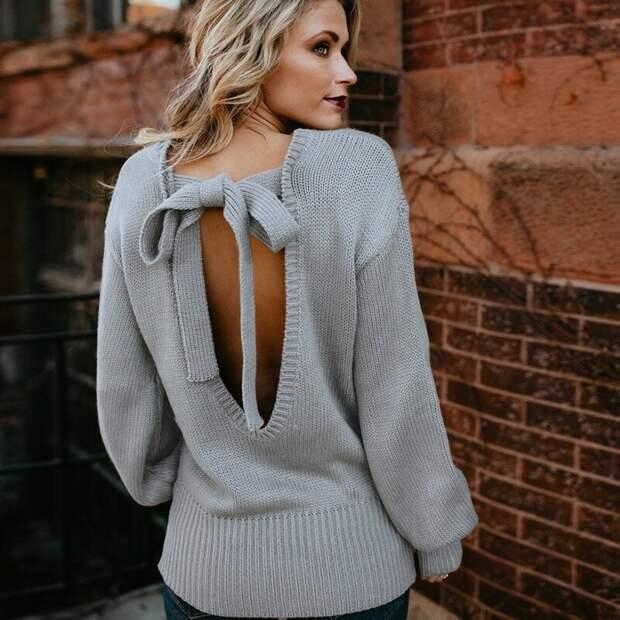 Девушка в сером свитере с бантом. /Фото: ae01.alicdn.com