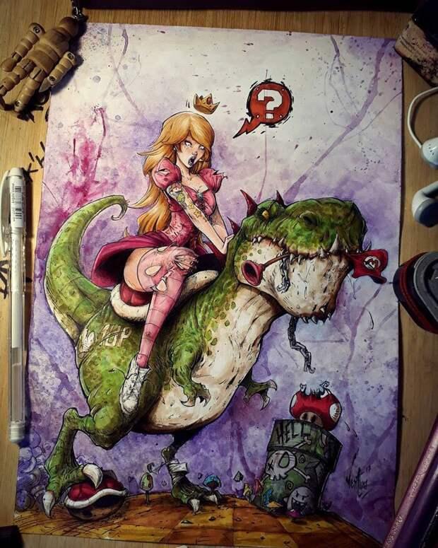 На темной стороне: Марсело Вентура и его рисунки персонажей поп-культуры в стиле мрачных комиксов