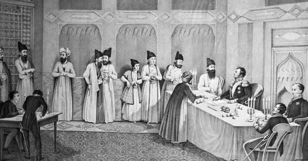 Русско-персидские переговоры, литография 1828 года