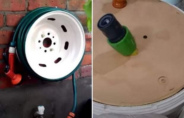 Как сделать держатель для садового шланга из простого пластикового ведра