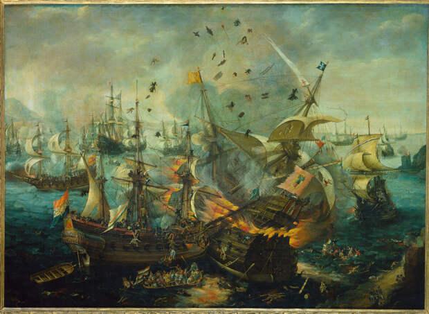 Флот Соединенных провинций в бою с испанцами, 1607 год. Художник: Cornelis Claesz van Wieringen